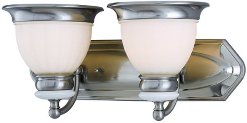 Lite Source LS-16422PS/FRO Carter 2-Lite Vanity Wall Lamp, Polished Steel with Frosted Glass Shade