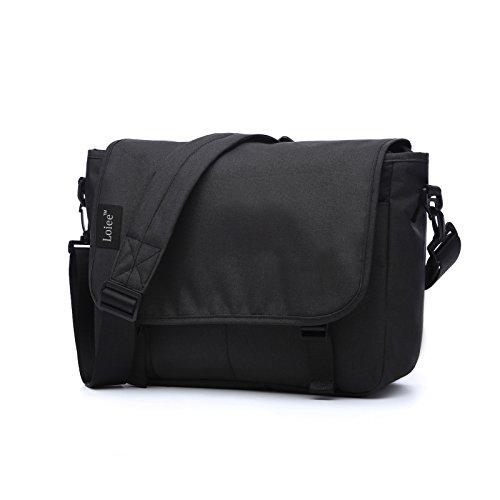 Black Canvas Messenger Bag - Loiee 14 inches Classic Canvas Mesenger Bag,Water Resistant Vintage School Bag,Black