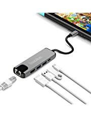 innoAura Adaptateur Multiport de Type C pour Nintendo Switch Station Dock USB C avec Convertisseur 4 K HDMI, Port de Charge USB-C PD, Gigabit Ethernet, 2 Ports USB 3.0 pour Nintendo Switch.