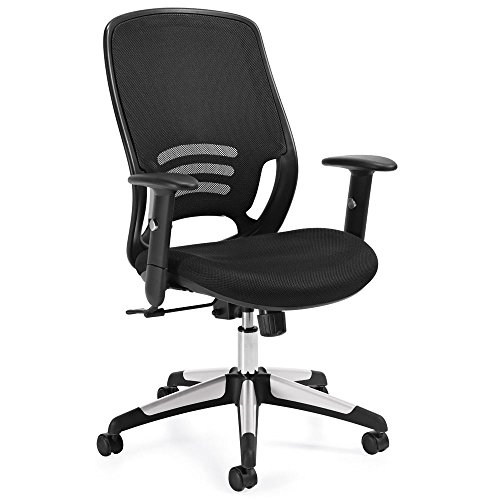 (Atwater Mesh Back Mesh Fabric Seat Task Chair with Adjustable Arms Dimensions: 25.5