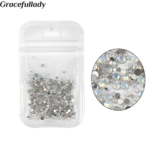 Nail Art Accessories - 450 pcs/Pack Mix Size Pink Opal Crystal Nail Rhinestones For 3d Charm Glass Non DIY Nails Decorations - White Opal -