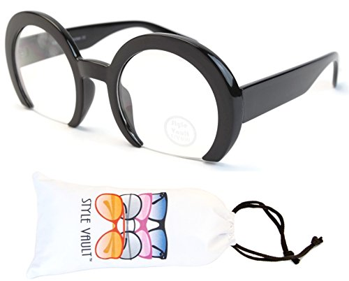 [V173-vp Style Vault Oversized Thick Round Sunglasses (B2462F Black-Clear Lens, uv400)] (Clown Glasses)