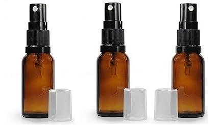Pack de 3 X botellas de vidrio de color ámbar 30 ml aromaterapia con tapa pulverizador