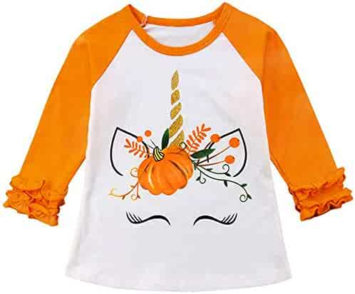 53d22f2b Christmas Thanksgiving Toddler Kids Baby Girls Unicorn Turkey T-Shirt Long  Sleeve Top Lace Sleeve