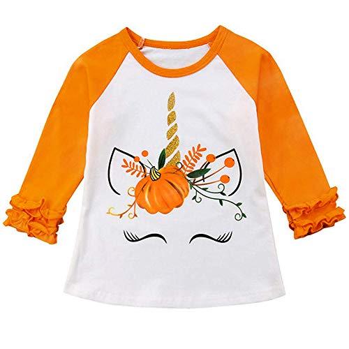 Unicorn Moon T-shirt - Halloween Toddler Kids Baby Girls Unicorn Pumpkin T-Shirt Long Sleeve Top Lace Sleeve Clothes Set (Orange, 5 T)