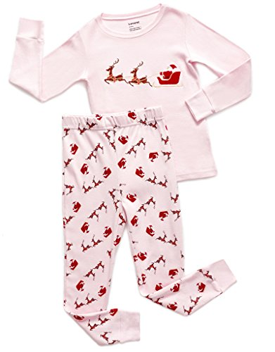 Leveret Kids Christmas Pajamas Boys Girls & Toddler Pajamas Moose Reindeer 2 Piece Pjs Set 100% Cotton (12 Months-14 Years) (10 Years, Santa Pink)