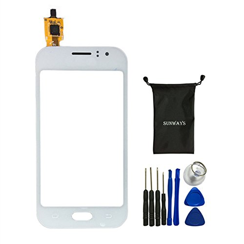 Sunways Touch Digitizer Glass Lens Screen Replacement For Samsung Galaxy j1 Ace j110 With device opening tools(White)