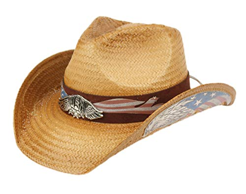 ANGELA & WILLIAM USA American Flag Straw Cowboy Hat w/Shapeable Brim, Red, White, Navy Blue (COW4039) -