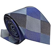 Gravata Slim Trabalhada Xadrez Importada Azul Prata E Cinza