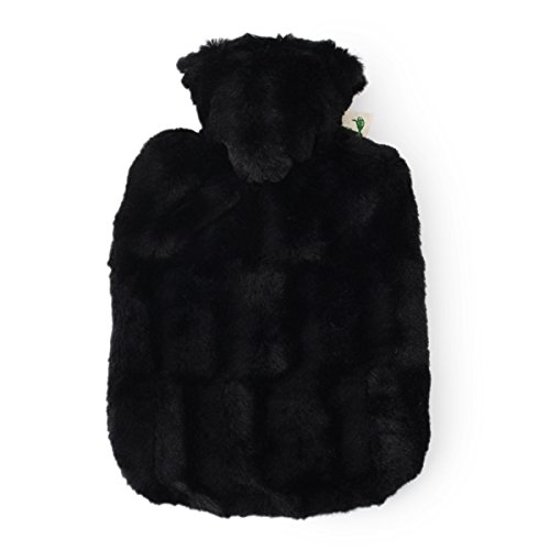 HUGO FROSCH Standard Classic Hot-Water Bottle + Fluffy Bore Cover (Black) by HUGO FROSCH