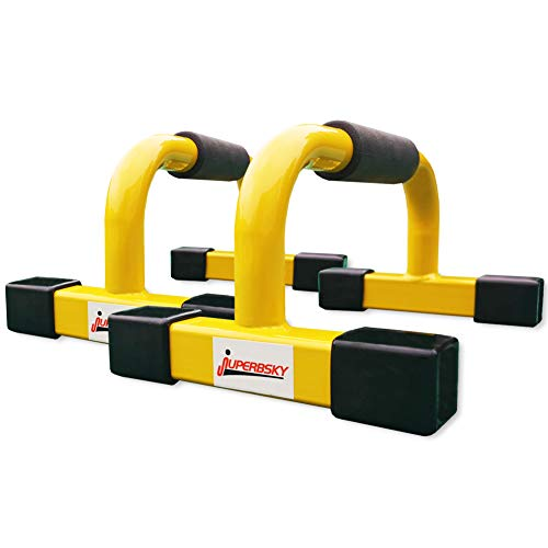 Juperbsky Push-Up Stands Bars Parallettes Set for Workout Exercise (Yellow, 12