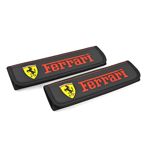 Ferrari seat belt covers pads shoulder for adults Black seatbelt cover pad with embroidered Ferrari emblem Interior accessories 2 - Canada Ferrari