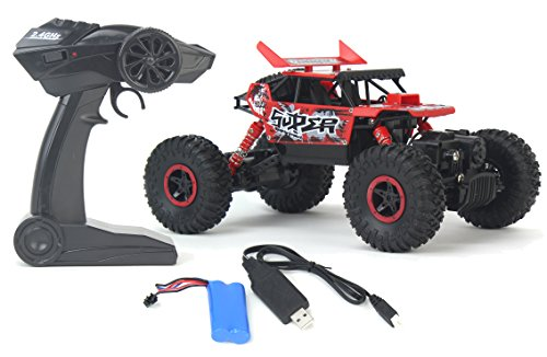 Rally Sports Car - Rock Crawler Remote Control Toy Red Rally Buggy RC Car 2.4 GHz 1:18 Scale Size w/ Working Suspension, Spring Shock Absorbers