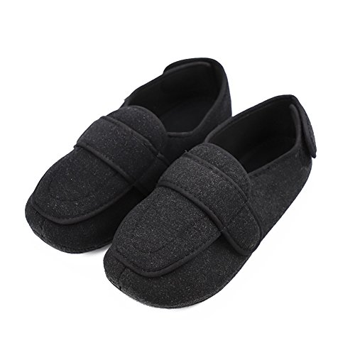 Cozy Ankle Men's Extra Wide Diabetic Slippers Adjustable Memory Foam Sandals Arthritis Edema Shoes Black