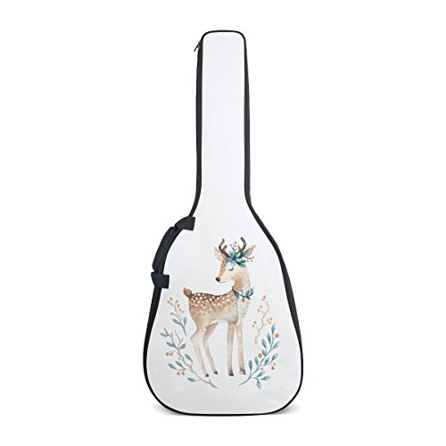 Guitar Bag, Deer White Oxford Fabric Dual Classical Adjustable 40-41 Inch Shoulder Strap Acoustic Guitar Gig Soft Bag Backpack with (Double Shoulder Deer)