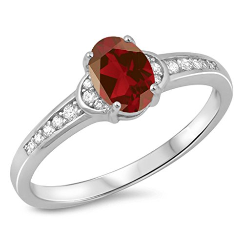 10 Natural (925 Sterling Silver Faceted Natural Genuine Red Ruby Oval Ring Size 10)