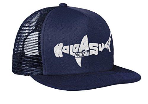 (Koloa Shark(tm) Mesh Back Trucker Hat in Navy/Navy with White Logo)