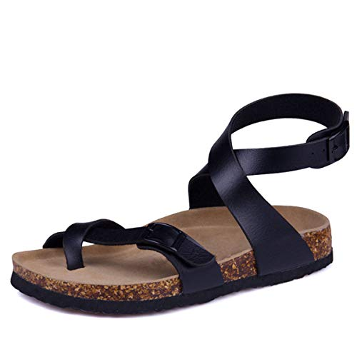 Spot Women Sandals Size Black Summer Strap Sandals Beach Fashion Micca Plus Flat Buckle Bacain Shoe Casual 02 Cork New CXA4Uxqw