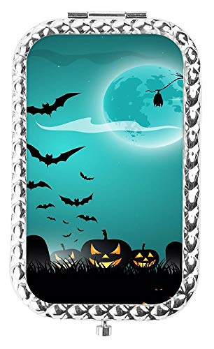 IMLONE Rectangle Silvery Halloween Bat Compact Purse Mirror with 2X Magnification, Portable Folding Makeup Mirror, Great Choice and Best Gift for You and Your Friend]()
