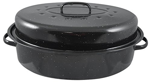 HDS TRADING Non-Stick Carbon Steel Roaster with Lid, 19-Inch, Black