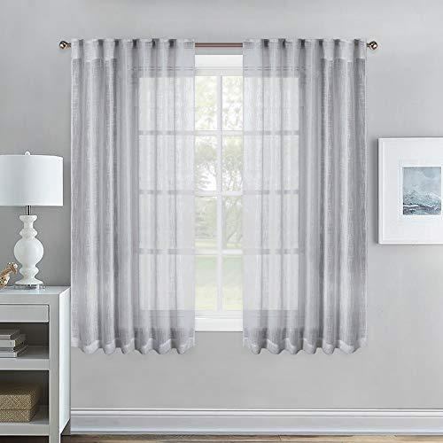 NICETOWN Bedroom Linen Look Sheer - Rod Pocket & Back Tab Semi-Transparent Vertical Voile Window Treatment Panels for Kids Room/Nursery/Office, 52