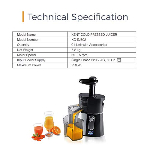 KENT 16006 Cold Pressed Juicer   Retains More Nutrients & Fibre   Produces More Juice   Faster Extraction   Different…