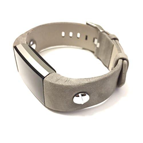 Fait à la main Bracelet de remplacement pour Fitbit Charge 2Petite Gris Bande de cuir avec rivets Bijoux Couleur argent par BSI