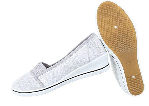Damen Halbschuhe Schuhe Slipper Loafer Mokassins Flats Slip On Ballerinas Schwarz Beige Weiß 36 37 38 39 40 41 Grau