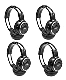 LeaningTech 4 Pack of IR Wireless Two-Channel Foldable Headphone, Two Channel Folding Adjustable Universal Rear Entertainment System Infrared Headphones for in Car TV Video Audio Listening