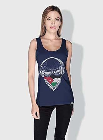 Creo Jordan Skull Tanks Tops For Women - Xl, Blue
