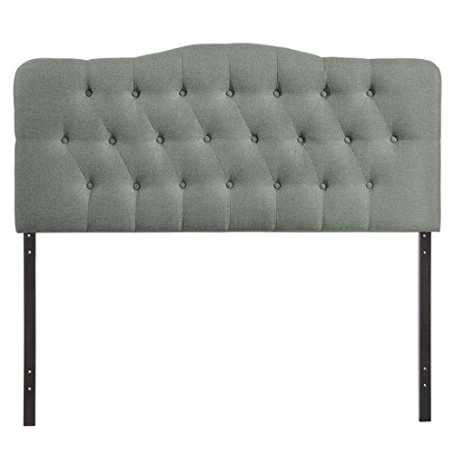 Modway Annabel Tufted Button Linen Fabric Upholstered Queen Headboard in Gray (Wall Headboards Beds For Queen Mounted)