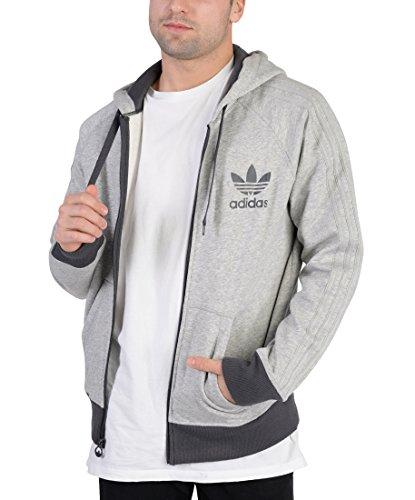 adidas Originals Men's Sport Essentials Full-Zip Hoody, Small, Medium Grey Heather