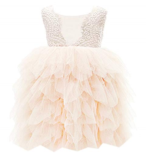 2Bunnies Girl Beaded Peony Lace Back A-Line Tiered Tutu Tulle Flower Girl Dress (Ivory 5 Tier, 12 Months)