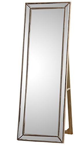 Abbyson Cosmic Rectangle Floor Mirror, Gold - Materials: Glass/wood Finish: Silver with gold trim nail-heads Dimensions: 21.5 Inch wide x 2.5 Inch deep x 63 Inch high - mirrors-bedroom-decor, bedroom-decor, bedroom - 418mxB1L 9L -