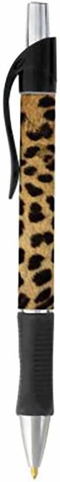 Cheetah Animal Print Pen - Black or Blue Writing Ink - Wildlife Nature Design - Stationery Gift - Office Business School Supplies (BLACK INK)