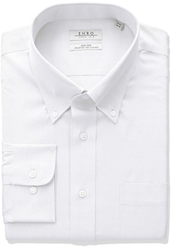 Enro Men's Classic Fit Solid Button Down Collar Dress Shirt, White, 18.5