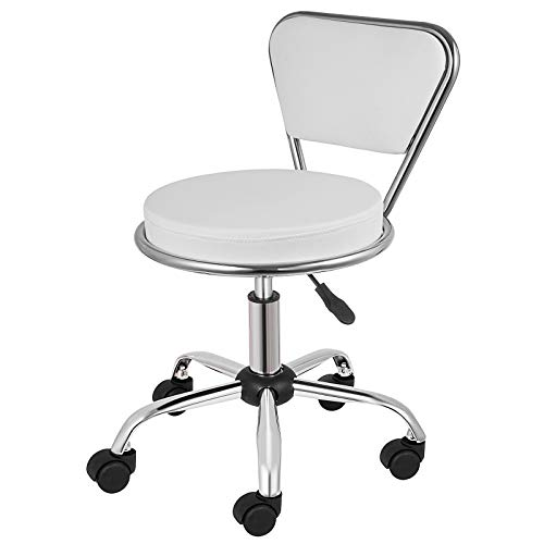 Happybuy Salon Nail Pedicure Stool Pneumatic Pedicure Chair Dayton Pedicure Stool Adjustable Height Perfect for Nail Salon Pedicure and SPA (Adjustable Height: 14.5″-16.5″, White)
