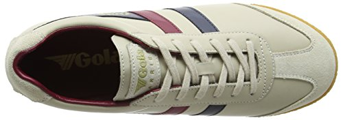 Gola Harrier Leather, Zapatillas para Hombre Beige (Ecru/navy/burgundy)