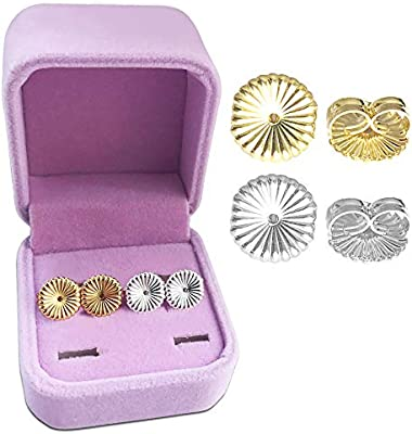 Daisy Replacements,Easy to Use Back Earrings for Ear Lobe Lifter,Support Most Posts with Jewelry Case Magic Earring Lifters,2 Pairs of Adjustable Hypoallergenic Sterling Silver Secure Backings