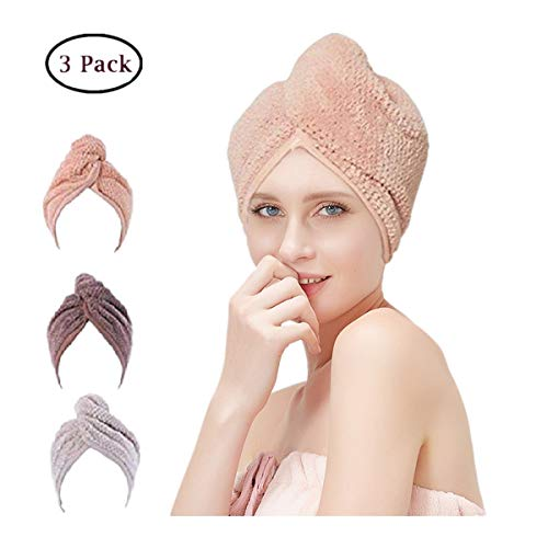 Microfiber Hair Towel Wrap for Women, Quick Magic Hair Dry Hat, Turban Twist Hair Towel Wrap Head Towel with Button, Quick Dry Magic Hats, Super Absorbent for Long & Curly Hair, Anti-Frizz [3 Pack]