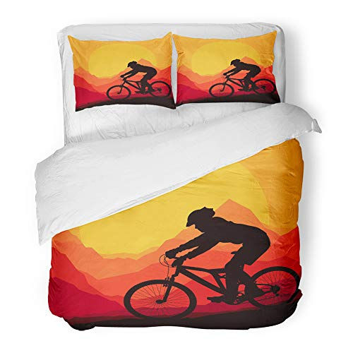 Emvency Decor Duvet Cover Set Twin Size Silhouette Mountain Bike Rider in Wild Nature Landscape Bicycle Adventure Cyclist 3 Piece Brushed Microfiber Fabric Print Bedding Set Cover ()
