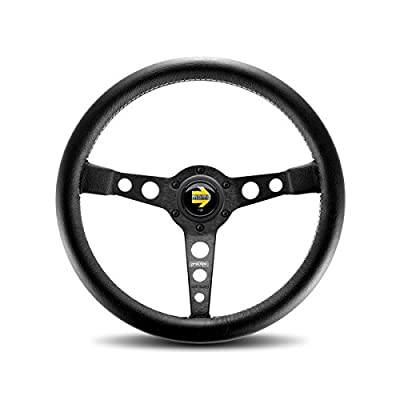 MOMO PRO35BK2B Prototipo Black 350 mm Leather Steering Wheel: Automotive