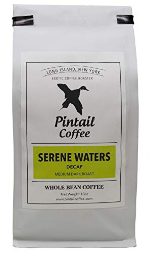 Pintail Coffee - Serene Waters Decaf Medium Dark Roast Whole Bean Coffee, 12 Oz. Bag, Rich Blend of Brazil, Notes of Deep Dark Chocolate