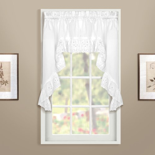 United Curtain Vienna Lace Swag Pair, 54 by 38-Inch, -