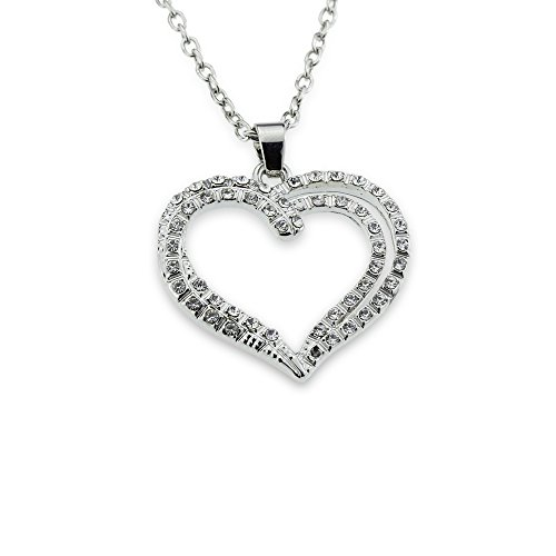 Open Heart Designer Pendant (Iced Out Crystal Open Heart Silver Pendant Chain Gift for Mom on Mother's Day or a special lady on Anniversaries / Anniversary and Valentine's)
