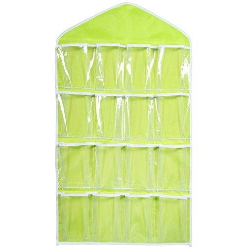 Ecosin Fashion 16 Pockets Clear Hanging Bag Socks Bra Underwear Rack Hanger Storage Organizer (Green)