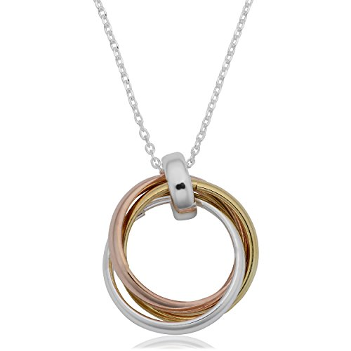 Kooljewelry Sterling Silver Tricolor Interlocking Circles Pendant Necklace (17 inch)