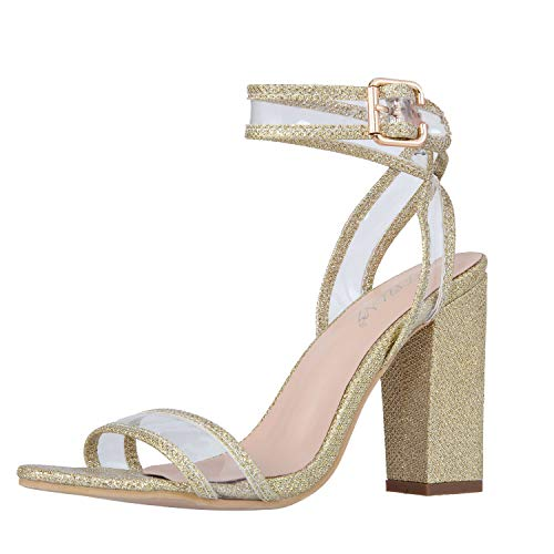 JSUN7 Women's Shiny Sandals with Clear Ankle Strap Sexy Open Toe Summer Shoes Strappy High Chunky Heels]()