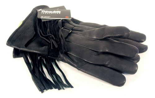 Napa Classic Deerskin Leather Gloves with Fringed and Thinsulate Lining (Black, (Fringed Gauntlet)