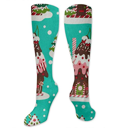Yitlon8 Holiday Gingerbread Houses Compression Socks for Women & Men - Best for Running, Athletic Sports, Crossfit, Flight Travel -Maternity Pregnancy, Shin Splints - Below Knee High (Gingerbread House Stocking)